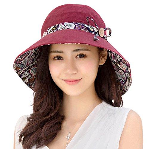 c190115cf62e1 HAPEE Womens Sun Hat Hindawi Summer Reversible UPF 50+ Beach Hat Foldable  Wide Brim Cap