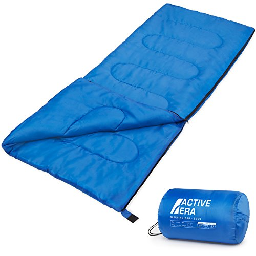 NEW ENVELOPE SHAPE WARM SINGLE SLEEPING BAG FOR CAMPING CARAVAN AND TRAVEL W BAG