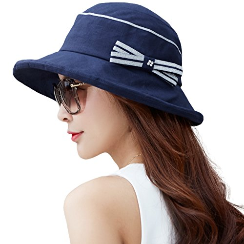 7ae056c869722 Siggi Womens Summer Bucket Boonie SPF 50+ Wide Brim Sun Hat Packable Beach  Accessories Navy