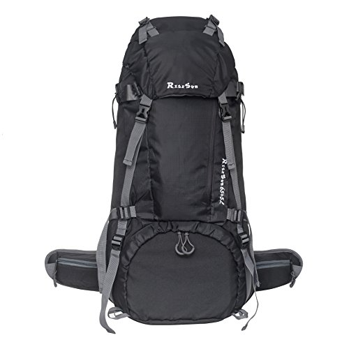 99746e72ac RiseSun 70L Waterproof Outdoor Sport Camping Travel Backpack Pack  Mountaineering Climbing Knapsack with Rain Cover (Black)