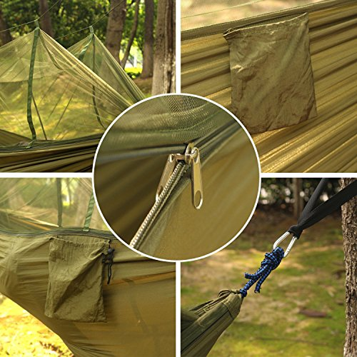 Loonfree Camping Hammock with Mosquito Net - 2 Person Portable High  Strength Outdoor Travel Hammock for Camping Hiking Backpacking (With One  Free