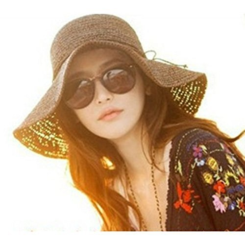 47832eb389eb66 HugeStore Floppy Foldable Wide Brim Chic Sun Hat Sun Visor Summer Beach  Straw Hat for Women Ladies Brown