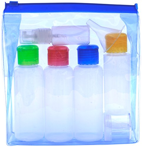eb645fe3907e TRAVEL BOTTLES SET Airport Security 100 ml Liquid Containers. Coloured  Lids. Leak Proof. Soft plastic - Squeezable/Refillable. Clear see-through  ...