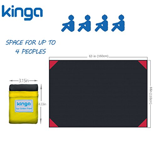 KINGA Camping Blanket Picnic Blanket Beach Blanket Sheet Pocket Fit Lightweight Water Repellent Large Size 5.3 x 3.6 ft All Weather Suitable Portable for Outdoors Polyester Fabric Yellow Color by