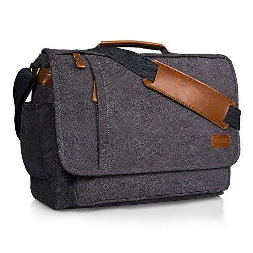 ee76406b188f Estarer 17-17.3 inch Laptop Messenger Bag,Padded Computer Bag for  Laptop,Mens Water Resistant Canvas Shoulder Bag,Large Briefcase for Work