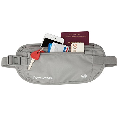 cf634c461400 TravelMore Travel Money Belt for Men and Woman – Blocks RFID – Secure Anti  Theft Hidden Wallet With 2 Zipper Compartments - Grey