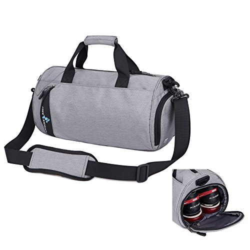 39b4960ba9 Asiki Waterproof Nylon Gym Bag Round Sports Duffel Bag with Shoe  Compartment Travel Sports Bag (Grey(Large))